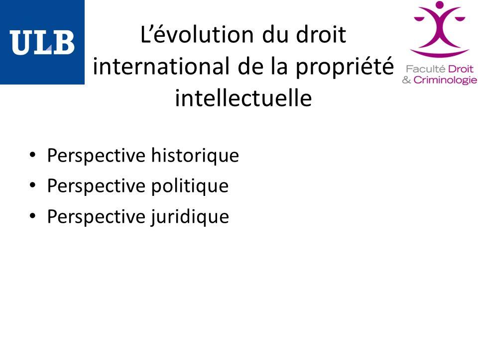 Lévolution du droit international de la propriété intellectuelle Perspective historique Perspective politique Perspective juridique