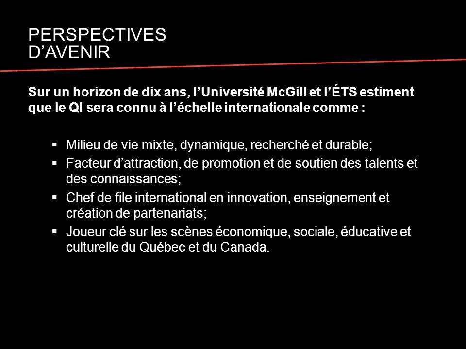 Sur un horizon de dix ans, lUniversité McGill et lÉTS estiment que le QI sera connu à léchelle internationale comme : Milieu de vie mixte, dynamique, recherché et durable; Facteur dattraction, de promotion et de soutien des talents et des connaissances; Chef de file international en innovation, enseignement et création de partenariats; Joueur clé sur les scènes économique, sociale, éducative et culturelle du Québec et du Canada.