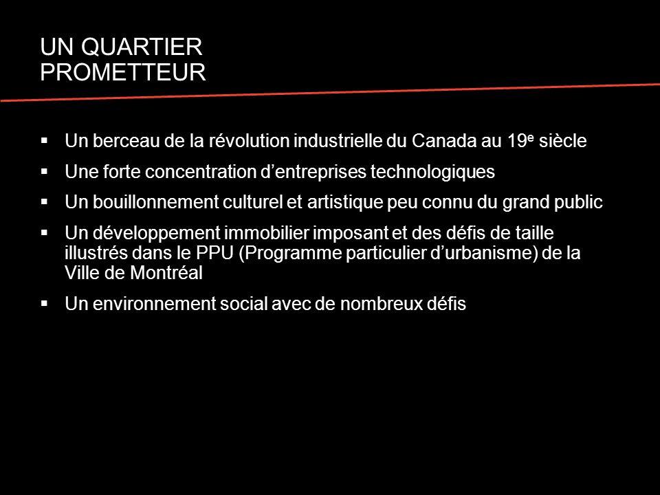 Un berceau de la révolution industrielle du Canada au 19 e siècle Une forte concentration dentreprises technologiques Un bouillonnement culturel et ar