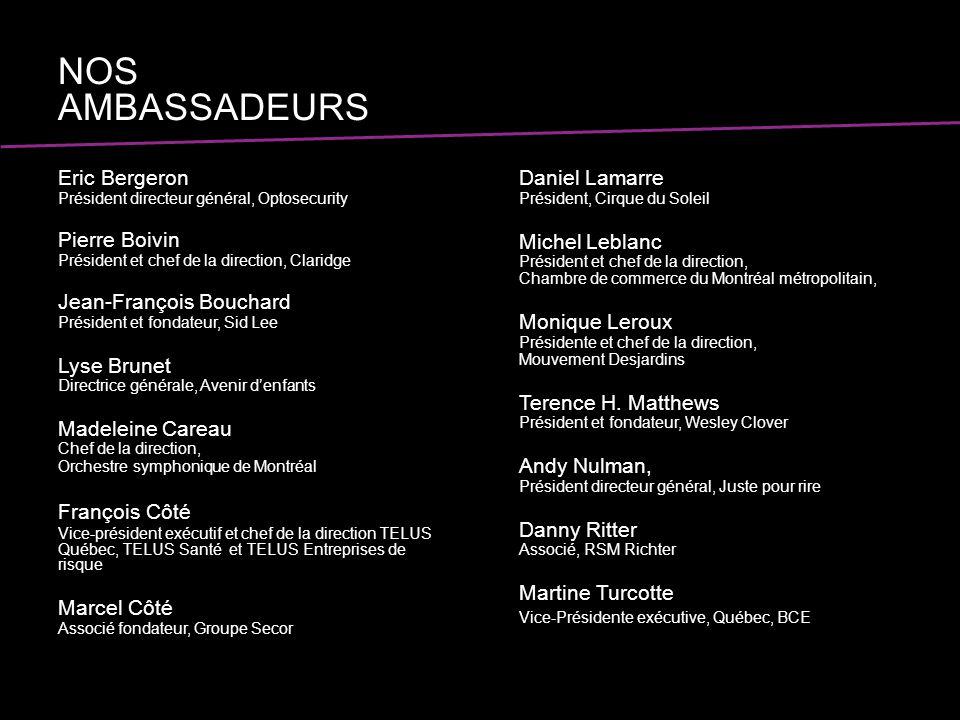 Eric Bergeron Président directeur général, Optosecurity Pierre Boivin Président et chef de la direction, Claridge Jean-François Bouchard Président et