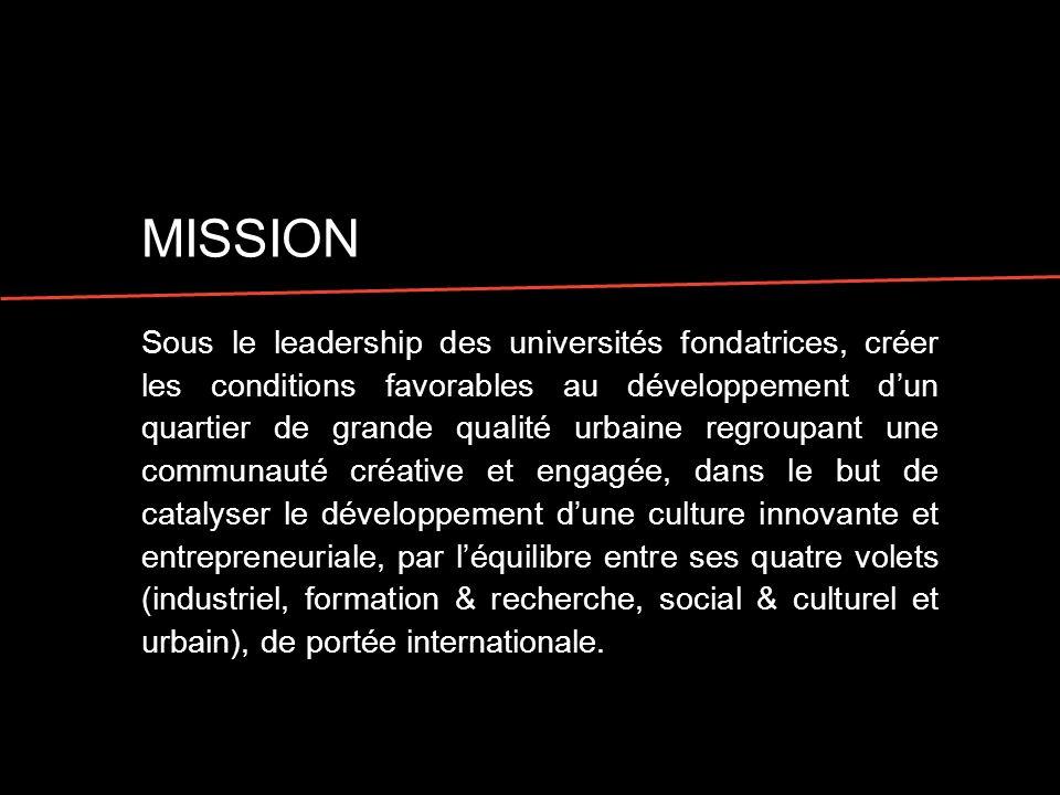 MISSION Sous le leadership des universités fondatrices, créer les conditions favorables au développement dun quartier de grande qualité urbaine regrou