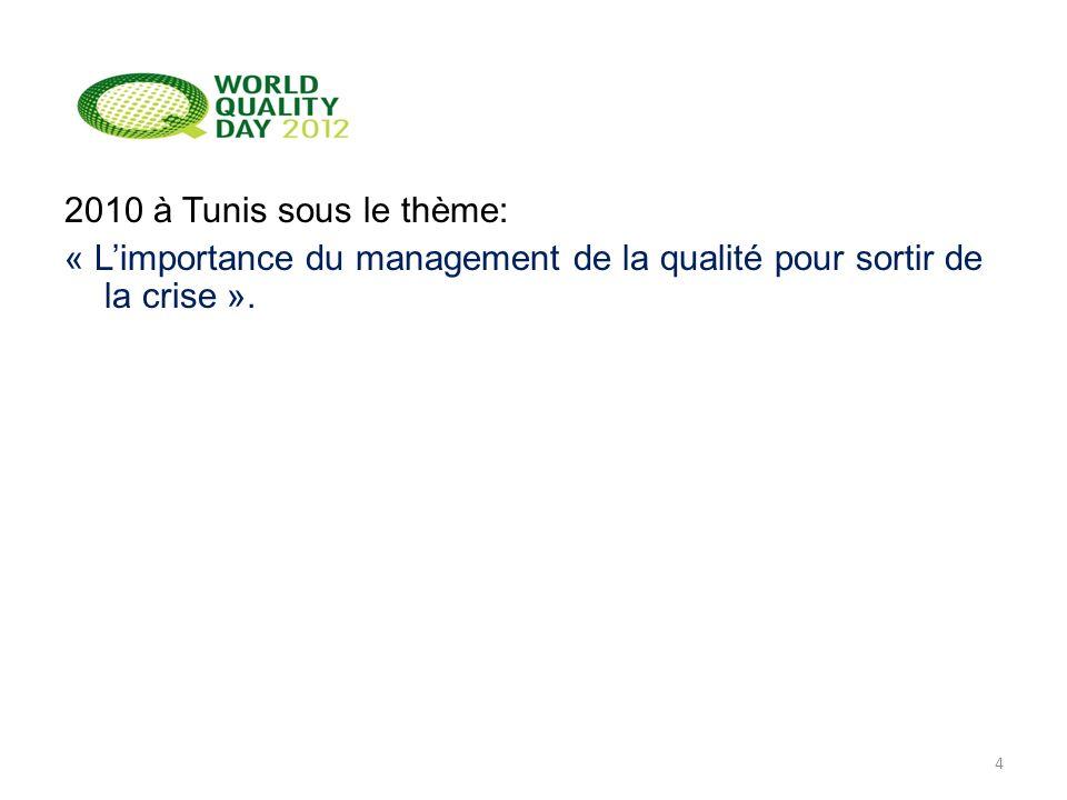 4 2010 à Tunis sous le thème: « Limportance du management de la qualité pour sortir de la crise ».