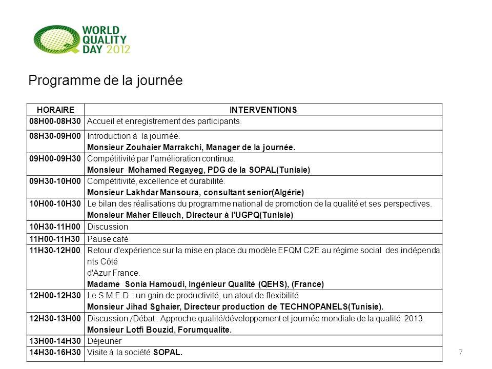 7 HORAIREINTERVENTIONS 08H00 - 08H30Accueil et enregistrement des participants. 08H30 - 09H00 Introduction à la journée. Monsieur Zouhaier Marrakchi,