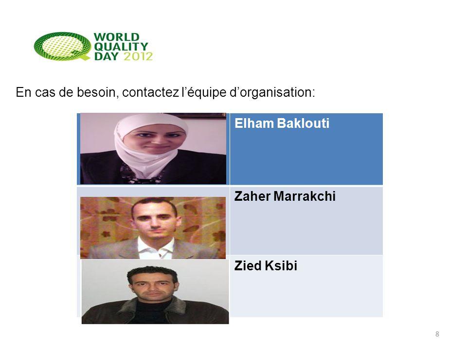 En cas de besoin, contactez léquipe dorganisation: 8 Elham Baklouti Zaher Marrakchi Zied Ksibi