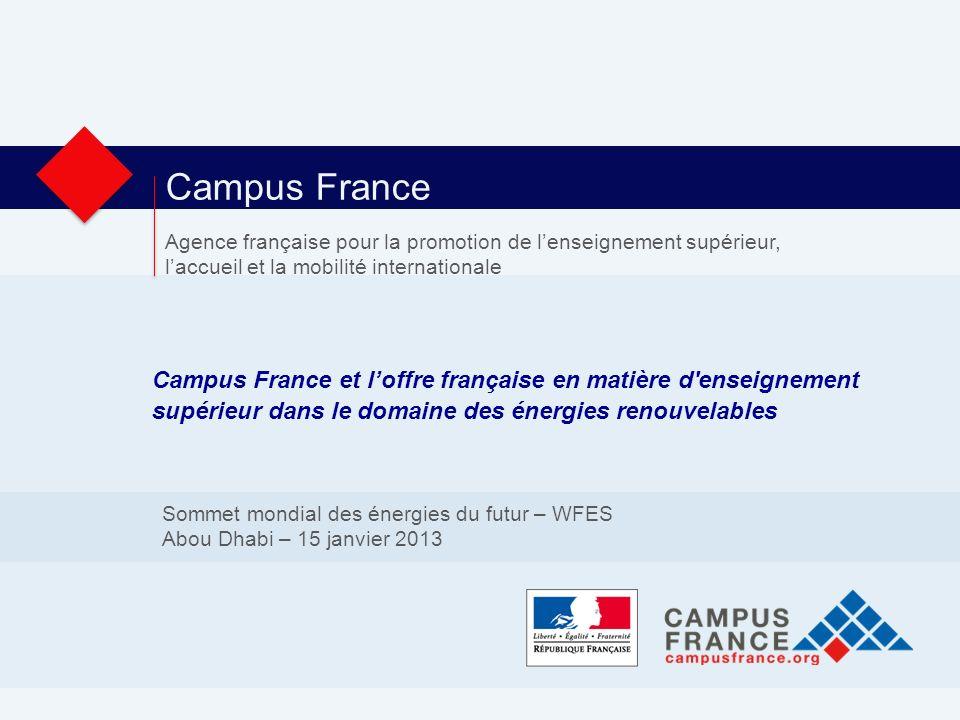 Campus France Agence française pour la promotion de lenseignement supérieur, laccueil et la mobilité internationale Campus France et loffre française