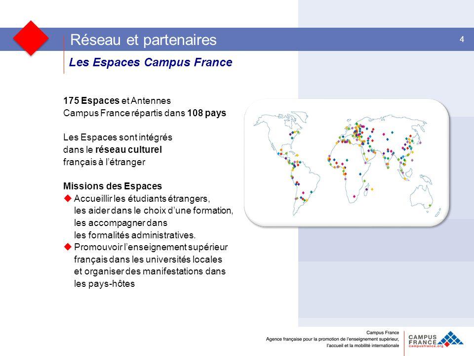 Les Espaces Campus France Les entreprises et les collectivités territoriales 4 175 Espaces et Antennes Campus France répartis dans 108 pays Les Espaces sont intégrés dans le réseau culturel français à létranger Missions des Espaces Accueillir les étudiants étrangers, les aider dans le choix dune formation, les accompagner dans les formalités administratives.