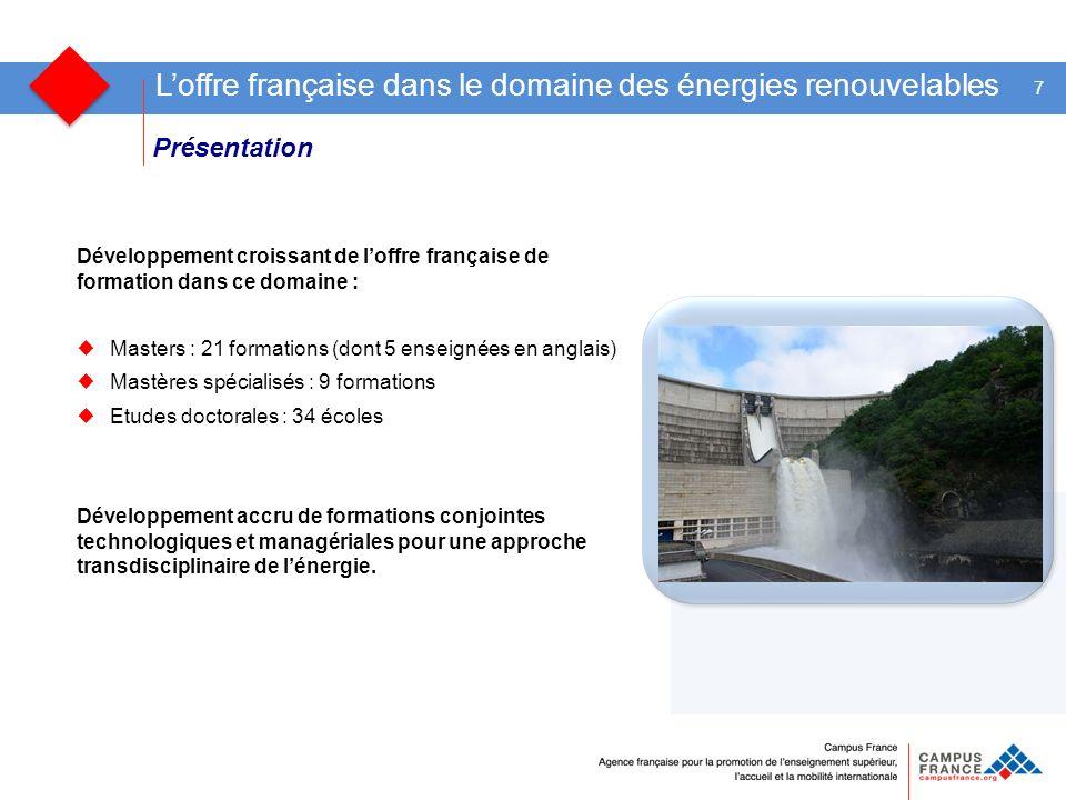 Présentation 7 Loffre française dans le domaine des énergies renouvelables Développement croissant de loffre française de formation dans ce domaine :