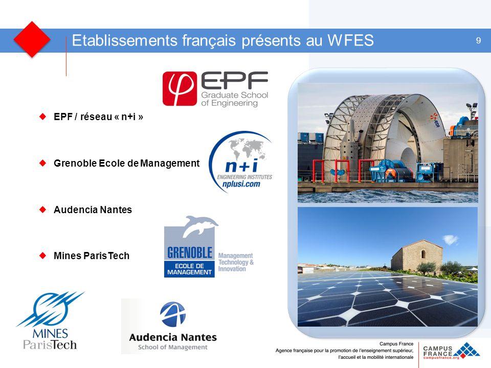 9 Etablissements français présents au WFES EPF / réseau « n+i » Grenoble Ecole de Management Audencia Nantes Mines ParisTech