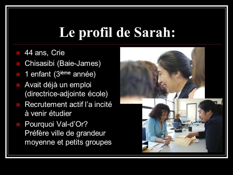 Le profil de Sarah: 44 ans, Crie Chisasibi (Baie-James) 1 enfant (3 ième année) Avait déjà un emploi (directrice-adjointe école) Recrutement actif la