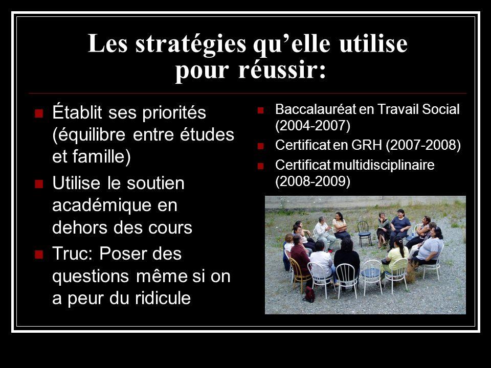 Les stratégies quelle utilise pour réussir: Établit ses priorités (équilibre entre études et famille) Utilise le soutien académique en dehors des cour