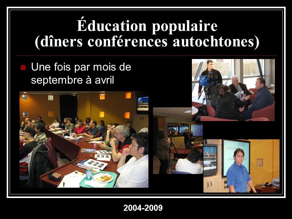 Éducation populaire (dîners conférences autochtones) Une fois par mois de septembre à avril 2004-2009