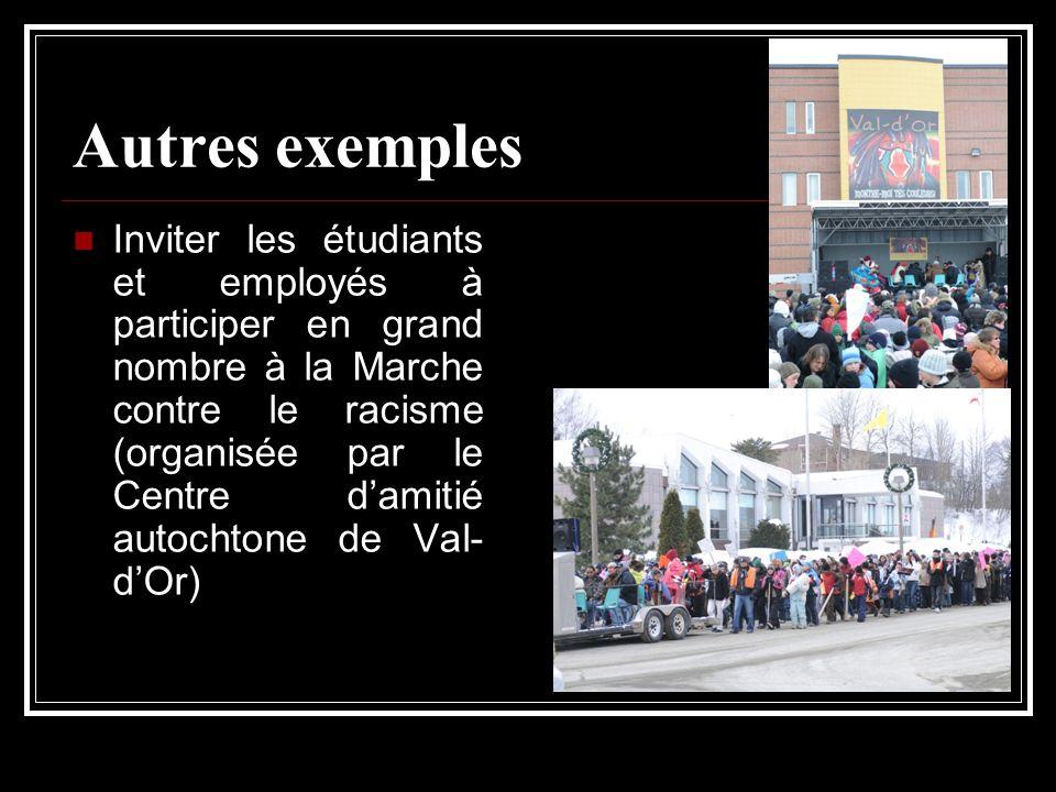 Autres exemples Inviter les étudiants et employés à participer en grand nombre à la Marche contre le racisme (organisée par le Centre damitié autochto
