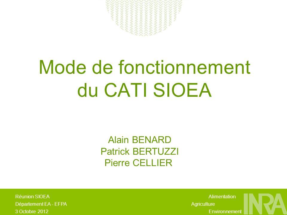 Alimentation Agriculture Environnement Réunion SIOEA Département EA - EFPA 3 Octobre 2012 Mode de fonctionnement du CATI SIOEA Alain BENARD Patrick BERTUZZI Pierre CELLIER