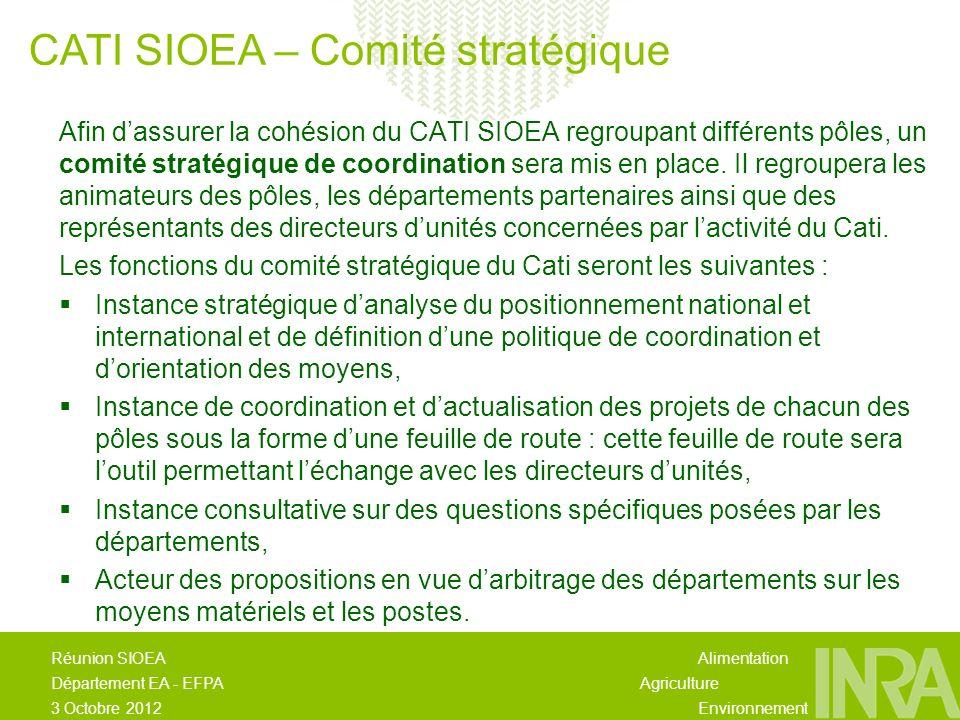 Alimentation Agriculture Environnement Réunion SIOEA Département EA - EFPA 3 Octobre 2012 Afin dassurer la cohésion du CATI SIOEA regroupant différents pôles, un comité stratégique de coordination sera mis en place.
