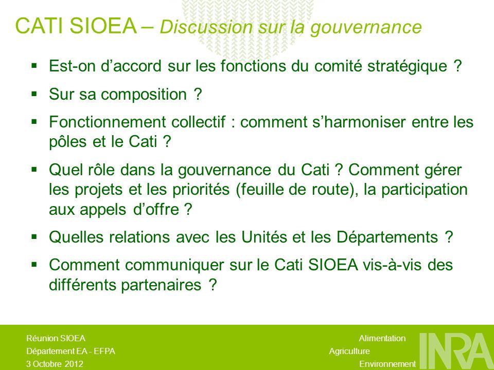 Alimentation Agriculture Environnement Réunion SIOEA Département EA - EFPA 3 Octobre 2012 Est-on daccord sur les fonctions du comité stratégique .