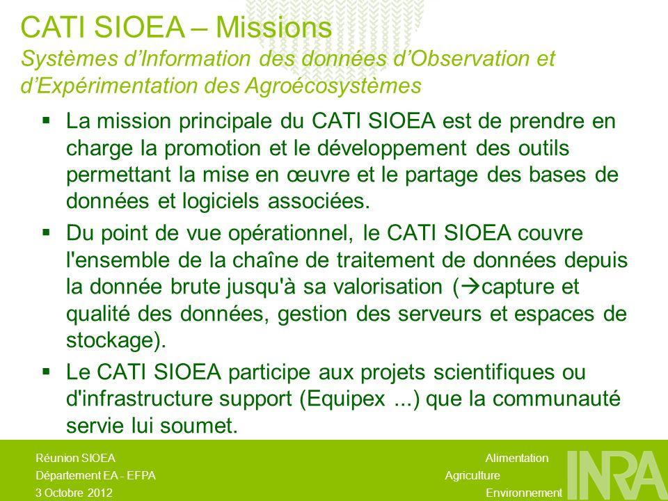Alimentation Agriculture Environnement Réunion SIOEA Département EA - EFPA 3 Octobre 2012 La mission principale du CATI SIOEA est de prendre en charge la promotion et le développement des outils permettant la mise en œuvre et le partage des bases de données et logiciels associées.
