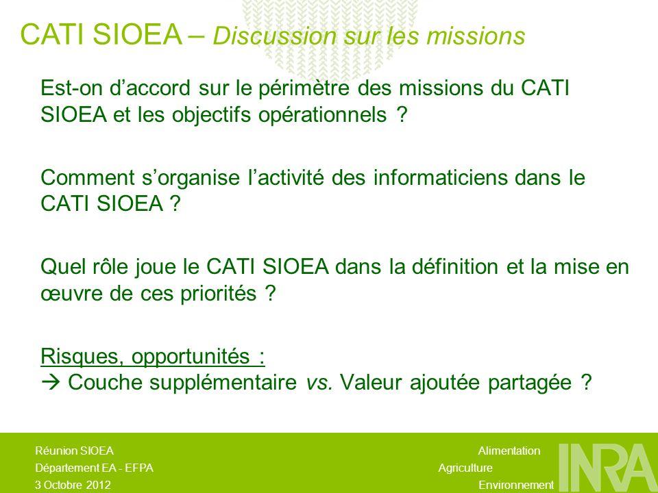 Alimentation Agriculture Environnement Réunion SIOEA Département EA - EFPA 3 Octobre 2012 Est-on daccord sur le périmètre des missions du CATI SIOEA et les objectifs opérationnels .