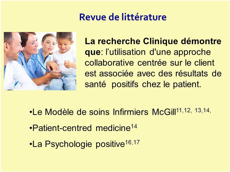 Le Modèle de soins Infirmiers McGill 11,12, 13,14, Patient-centred medicine 14 La Psychologie positive 16,17 Revue de littérature La recherche Cliniqu