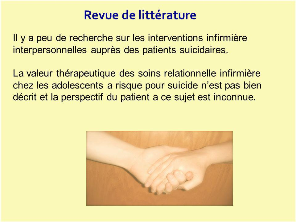 Il y a peu de recherche sur les interventions infirmière interpersonnelles auprès des patients suicidaires. La valeur thérapeutique des soins relation