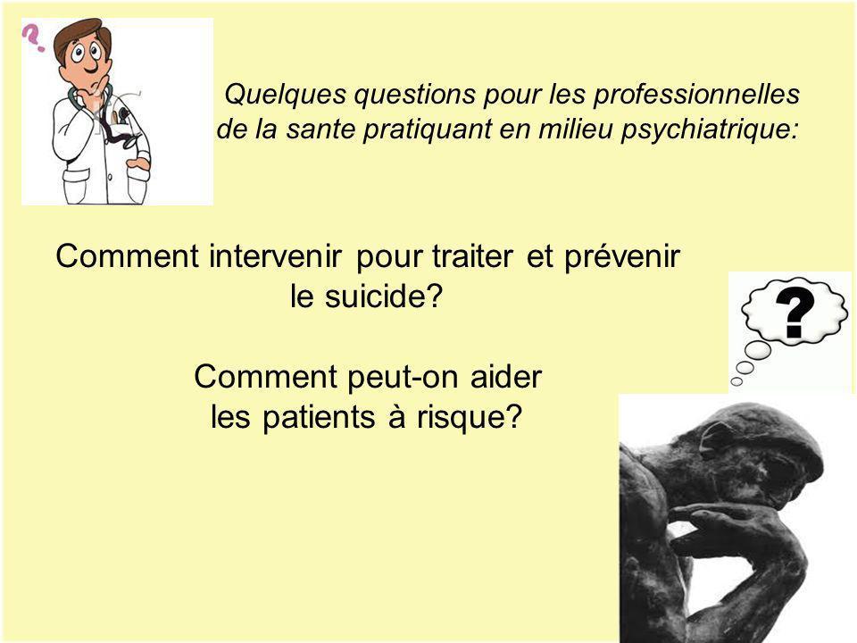 Comment intervenir pour traiter et prévenir le suicide? Comment peut-on aider les patients à risque? Quelques questions pour les professionnelles de l
