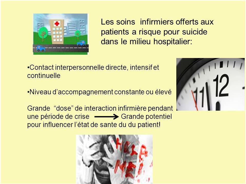 Les soins infirmiers offerts aux patients a risque pour suicide dans le milieu hospitalier: Contact interpersonnelle directe, intensif et continuelle