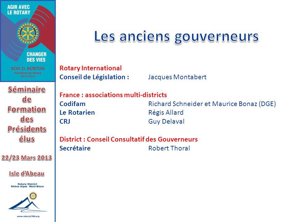 Rotary International Conseil de Législation : Jacques Montabert France : associations multi-districts Codifam Richard Schneider et Maurice Bonaz (DGE)