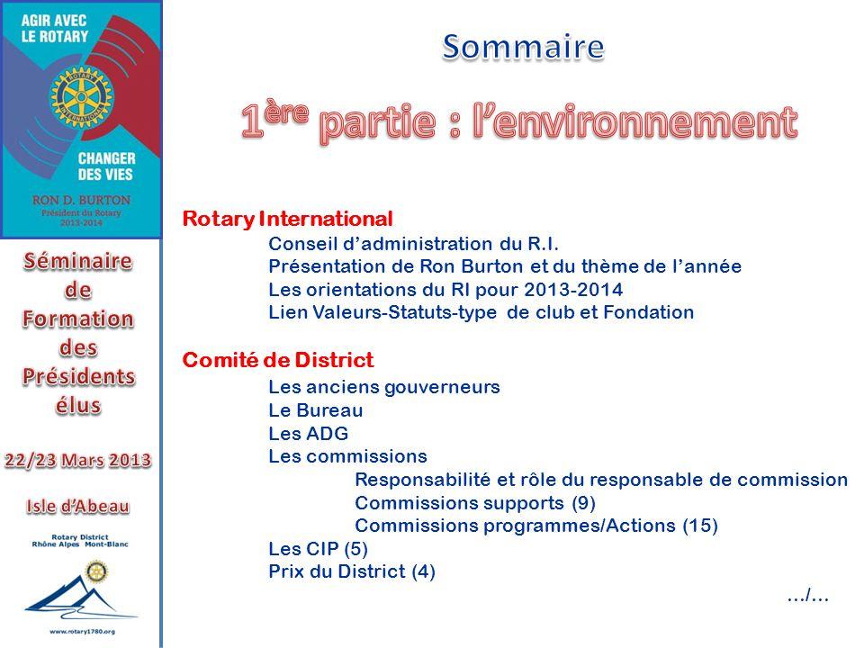Rotary International Conseil dadministration du R.I. Présentation de Ron Burton et du thème de lannée Les orientations du RI pour 2013-2014 Lien Valeu