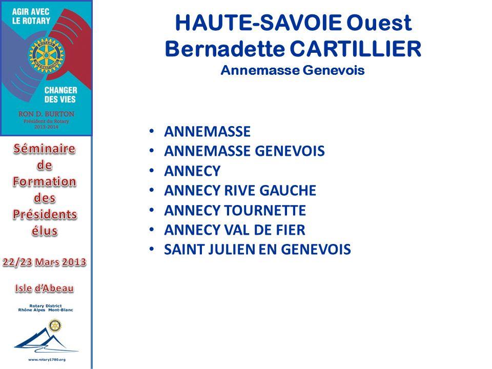 HAUTE-SAVOIE Ouest Bernadette CARTILLIER Annemasse Genevois ANNEMASSE ANNEMASSE GENEVOIS ANNECY ANNECY RIVE GAUCHE ANNECY TOURNETTE ANNECY VAL DE FIER