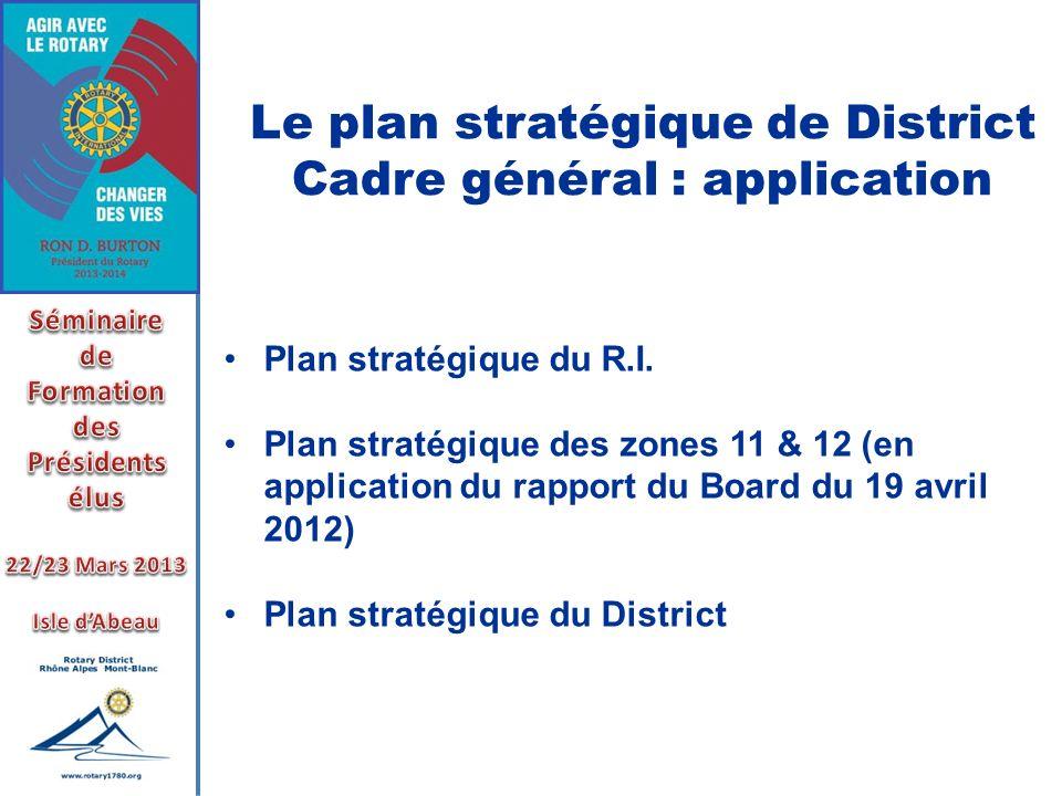 Le plan stratégique de District Cadre général : application Plan stratégique du R.I. Plan stratégique des zones 11 & 12 (en application du rapport du
