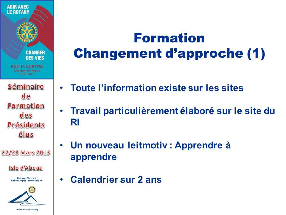 Formation Changement dapproche (1) Toute linformation existe sur les sites Travail particulièrement élaboré sur le site du RI Un nouveau leitmotiv : A