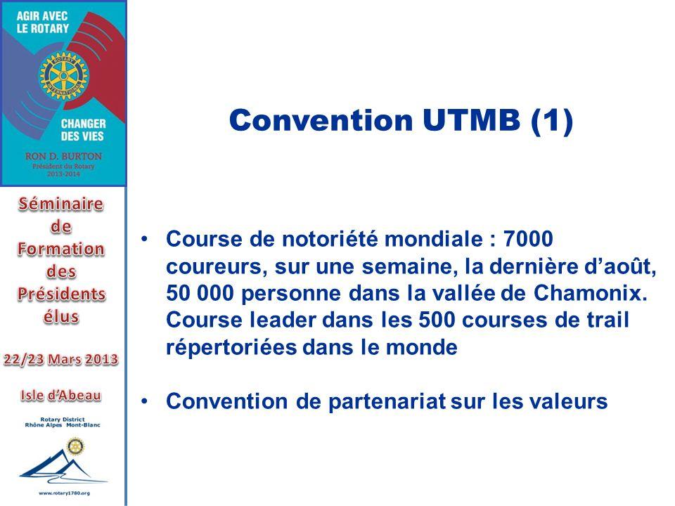 Convention UTMB (1) Course de notoriété mondiale : 7000 coureurs, sur une semaine, la dernière daoût, 50 000 personne dans la vallée de Chamonix. Cour