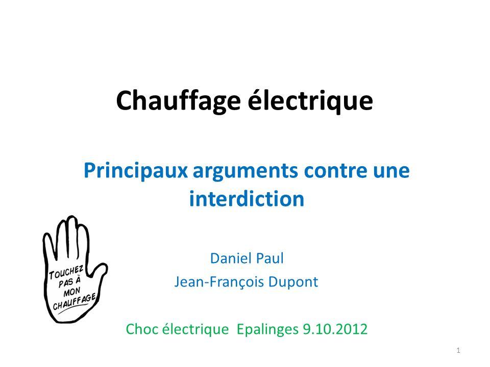 Chauffage électrique Principaux arguments contre une interdiction Daniel Paul Jean-François Dupont Choc électrique Epalinges 9.10.2012 1