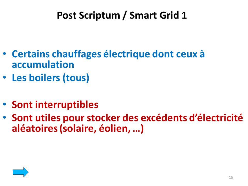 Certains chauffages électrique dont ceux à accumulation Les boilers (tous) Sont interruptibles Sont utiles pour stocker des excédents délectricité aléatoires (solaire, éolien, …) 15 Post Scriptum / Smart Grid 1