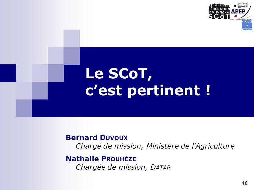 Le SCoT, cest pertinent ! Bernard D UVOUX Chargé de mission, Ministère de lAgriculture Nathalie P ROUHÈZE Chargée de mission, D ATAR 18