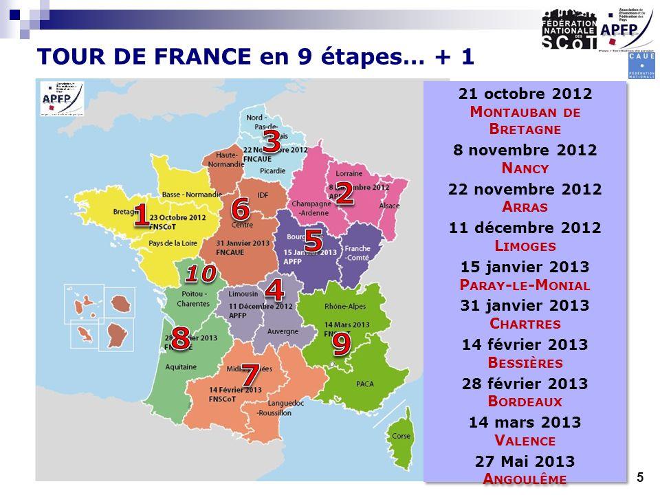 TOUR DE FRANCE en 9 étapes… + 1 21 octobre 2012 M ONTAUBAN DE B RETAGNE 8 novembre 2012 N ANCY 22 novembre 2012 A RRAS 11 décembre 2012 L IMOGES 15 ja