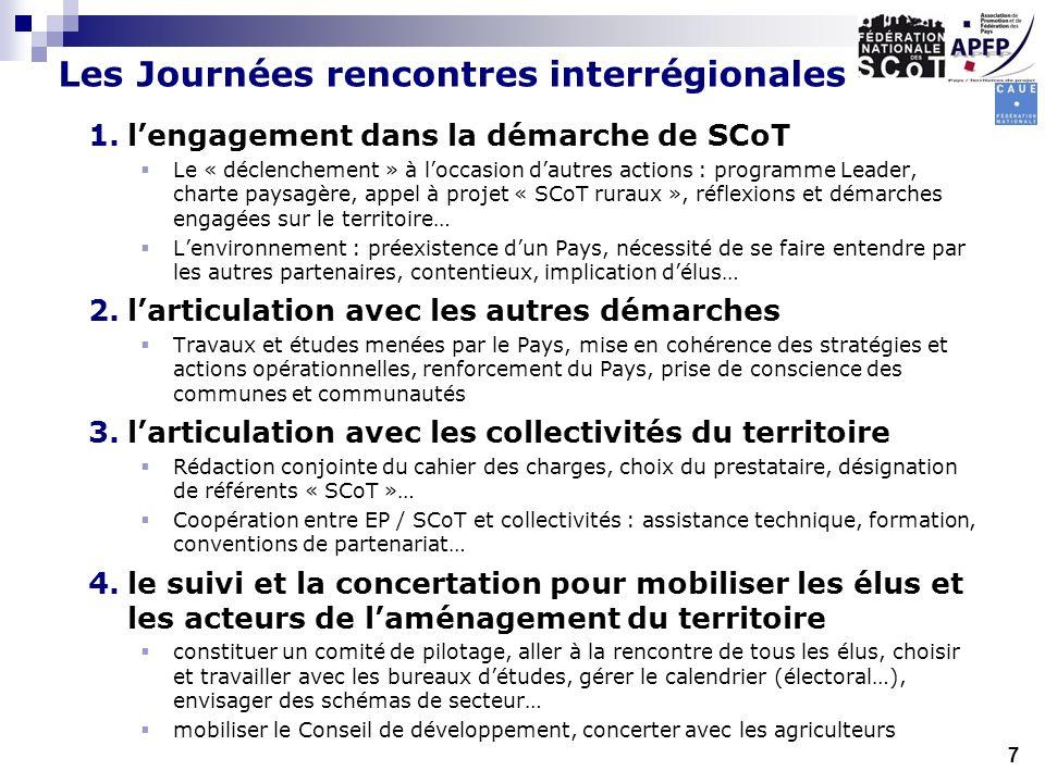 Les Journées rencontres interrégionales 1.lengagement dans la démarche de SCoT Le « déclenchement » à loccasion dautres actions : programme Leader, ch