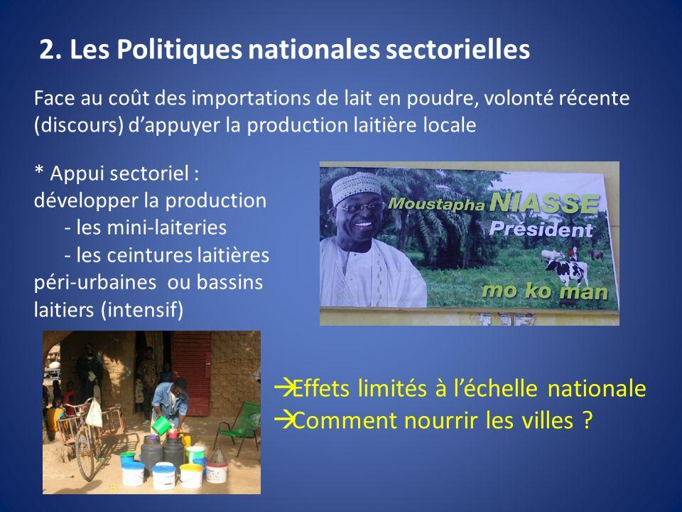2. Les Politiques nationales sectorielles Face au coût des importations de lait en poudre, volonté récente (discours) dappuyer la production laitière