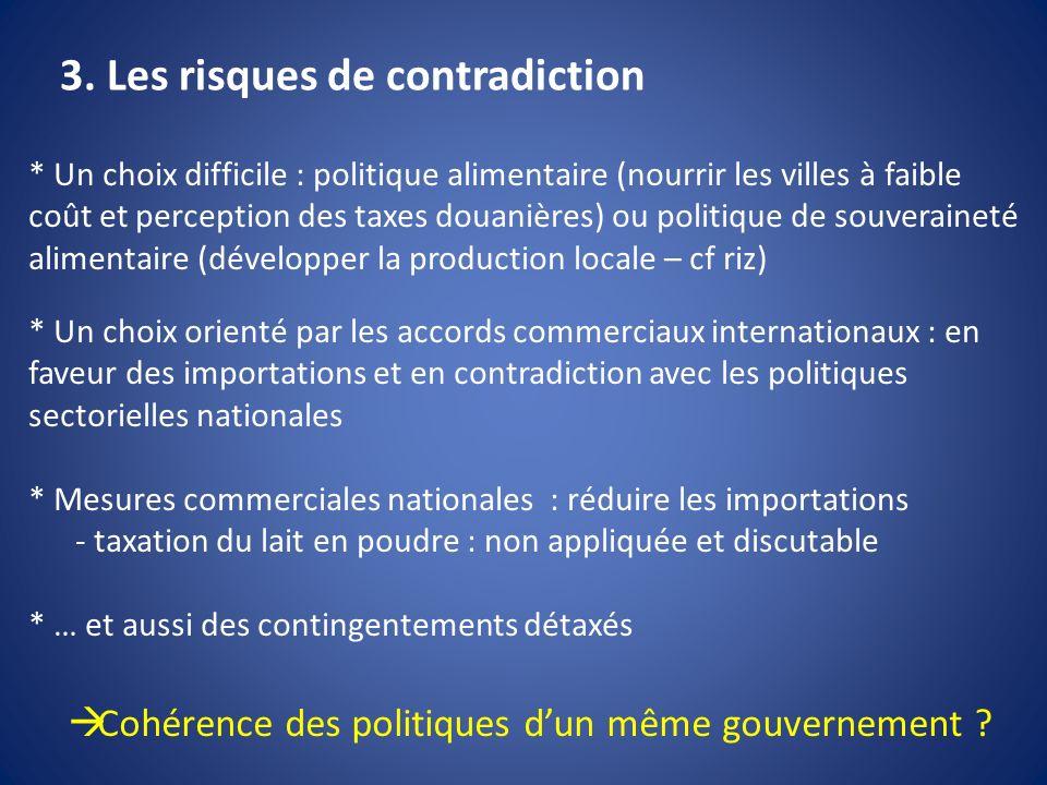 3. Les risques de contradiction * Un choix difficile : politique alimentaire (nourrir les villes à faible coût et perception des taxes douanières) ou