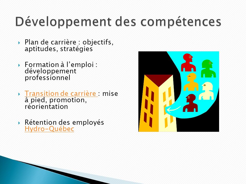 Plan de carrière : objectifs, aptitudes, stratégies Formation à lemploi : développement professionnel Transition de carrière : mise à pied, promotion, réorientation Transition de carrière Rétention des employés Hydro-Québec Hydro-Québec