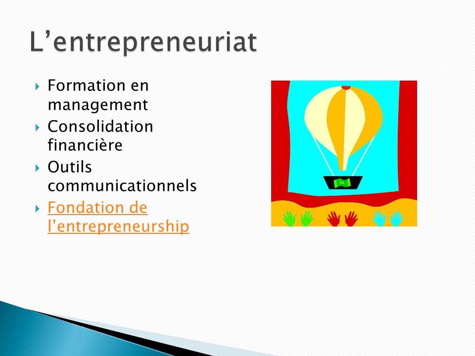 Formation en management Consolidation financière Outils communicationnels Fondation de lentrepreneurship Fondation de lentrepreneurship