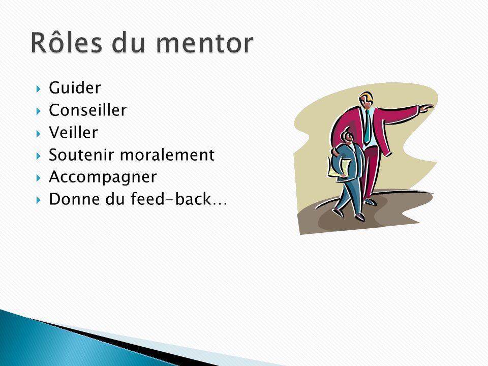 Guider Conseiller Veiller Soutenir moralement Accompagner Donne du feed-back…