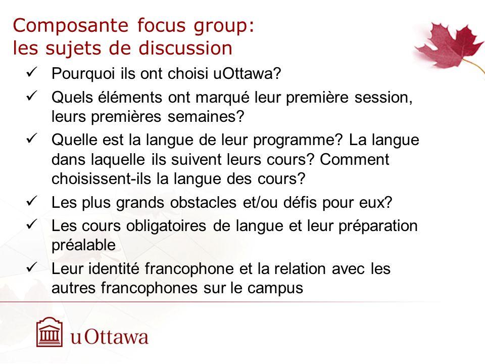Composante focus group: les sujets de discussion Pourquoi ils ont choisi uOttawa.