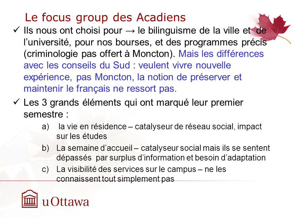 Le focus group des Acadiens Ils nous ont choisi pour le bilinguisme de la ville et de luniversité, pour nos bourses, et des programmes précis (criminologie pas offert à Moncton).