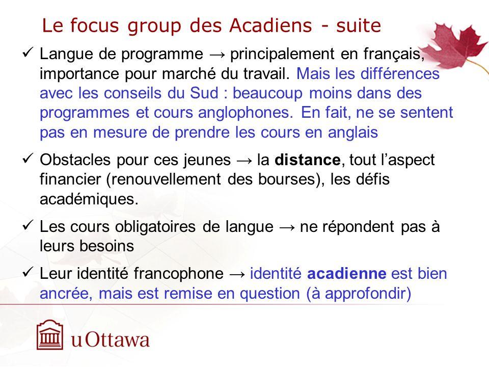 Le focus group des Acadiens - suite Langue de programme principalement en français, importance pour marché du travail.