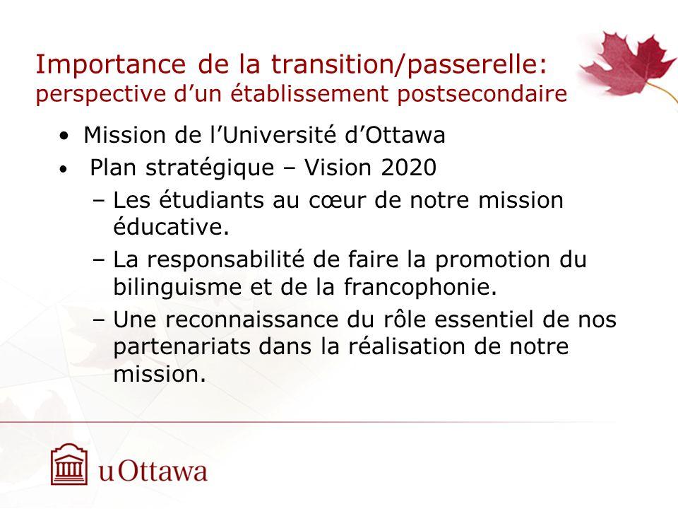 Importance de la transition/passerelle: perspective dun établissement postsecondaire Mission de lUniversité dOttawa Plan stratégique – Vision 2020 –Les étudiants au cœur de notre mission éducative.