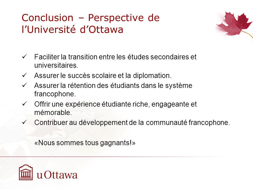 Conclusion – Perspective de lUniversité dOttawa Faciliter la transition entre les études secondaires et universitaires.