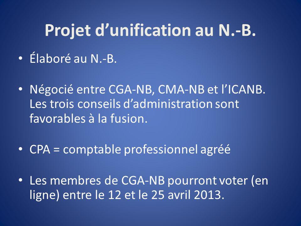 Projet dunification au N.-B. Élaboré au N.-B. Négocié entre CGA-NB, CMA-NB et lICANB.