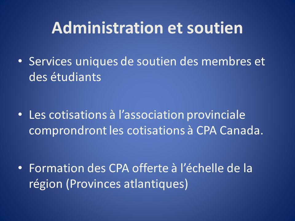 Administration et soutien Services uniques de soutien des membres et des étudiants Les cotisations à lassociation provinciale comprondront les cotisations à CPA Canada.