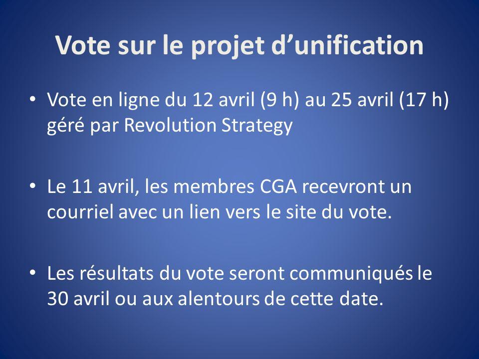 Vote sur le projet dunification Vote en ligne du 12 avril (9 h) au 25 avril (17 h) géré par Revolution Strategy Le 11 avril, les membres CGA recevront un courriel avec un lien vers le site du vote.