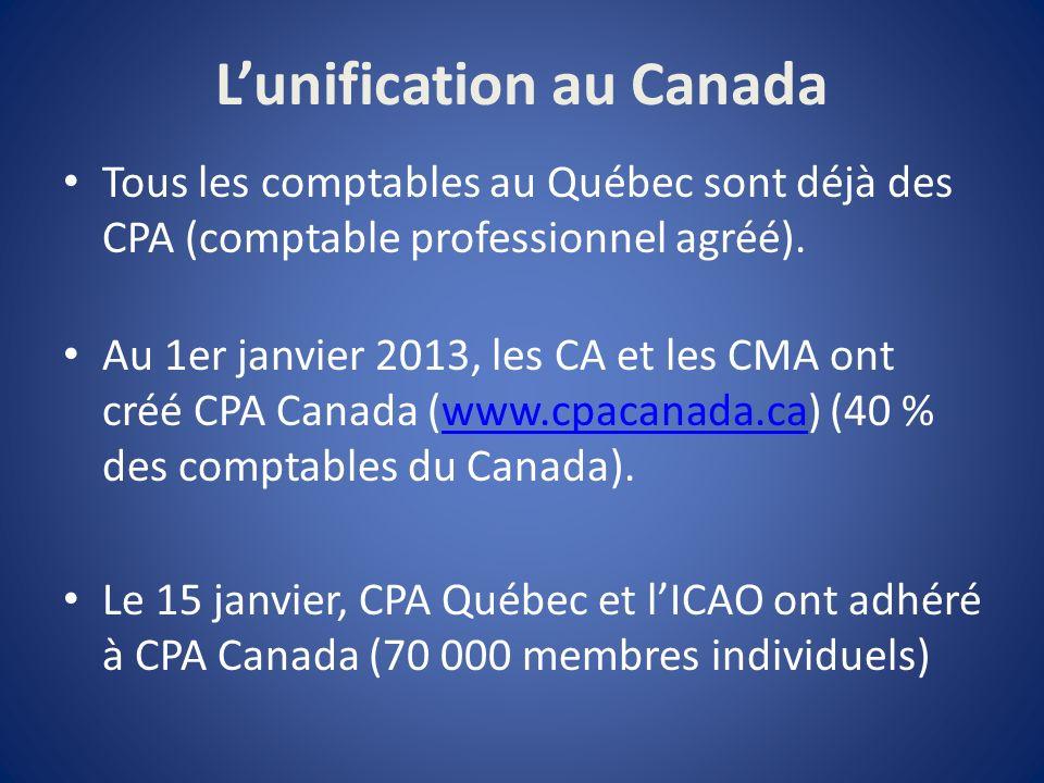 Lunification au Canada Tous les comptables au Québec sont déjà des CPA (comptable professionnel agréé).